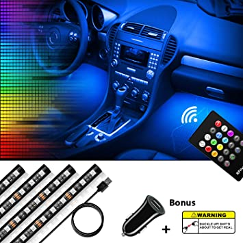 Car LED Strip Lights Universal Fitment SYNC with Music Dorolla 4pc Multi-Color LED Car Interior Underdash Lighting Kit with RF Wireless Remote Powered by 12V DC Car Charger