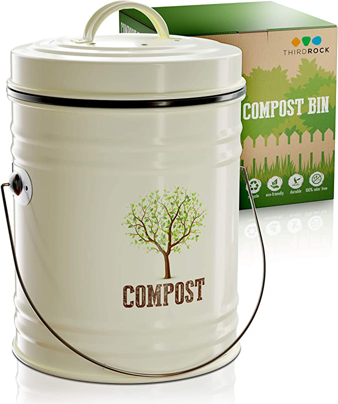 Third Rock Compost Bin for Kitchen Counter - 1.0 Gallon Compost Pail with Inner Compost Bucket Liner - Premium Dual Layer Powder Coated Carbon Steel Countertop Compost Bin - Includes Charcoal Filter