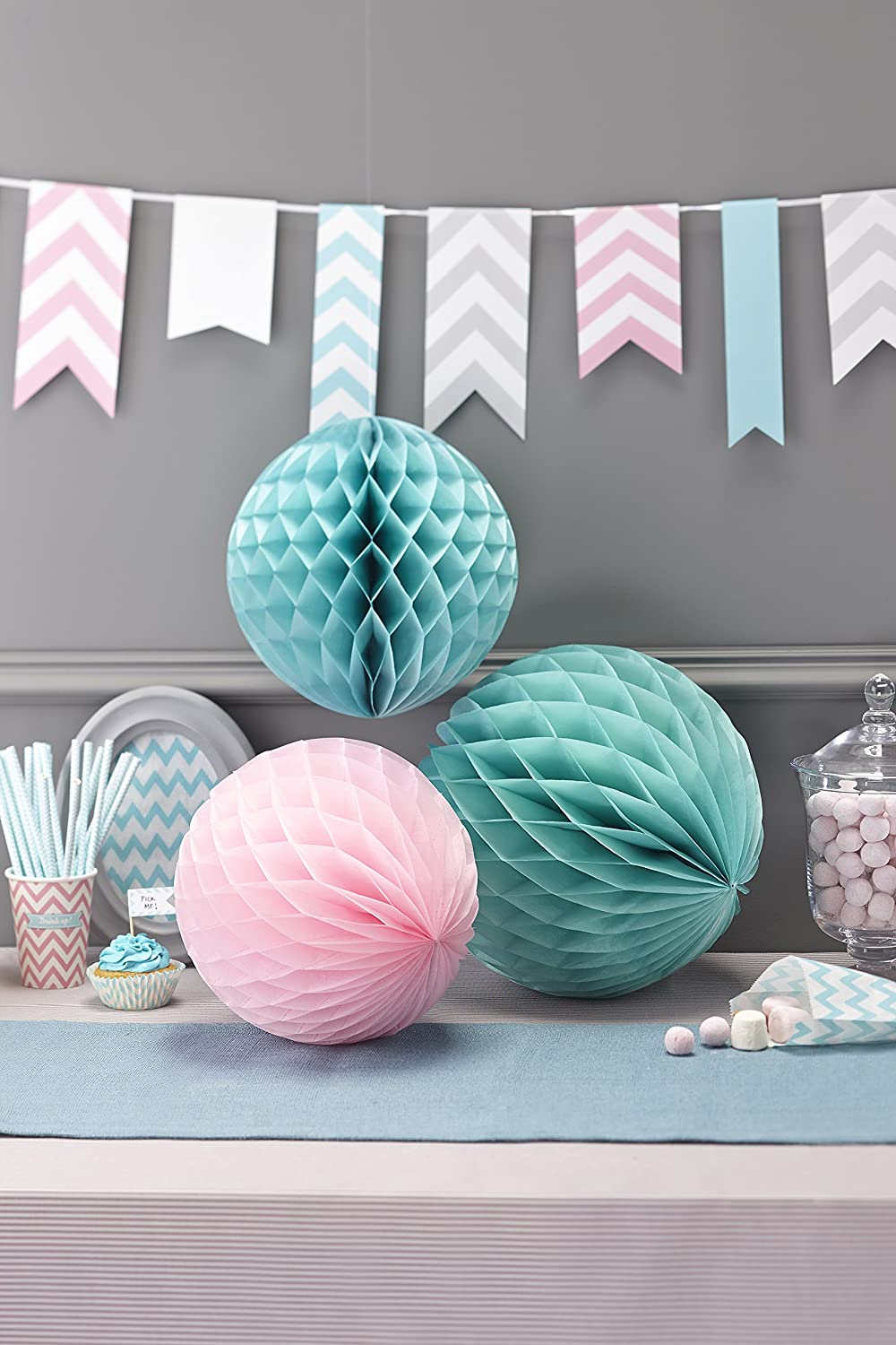 Mixed Ginger Ray Chevron Divine Honeycomb Balls Hanging Party Decoration