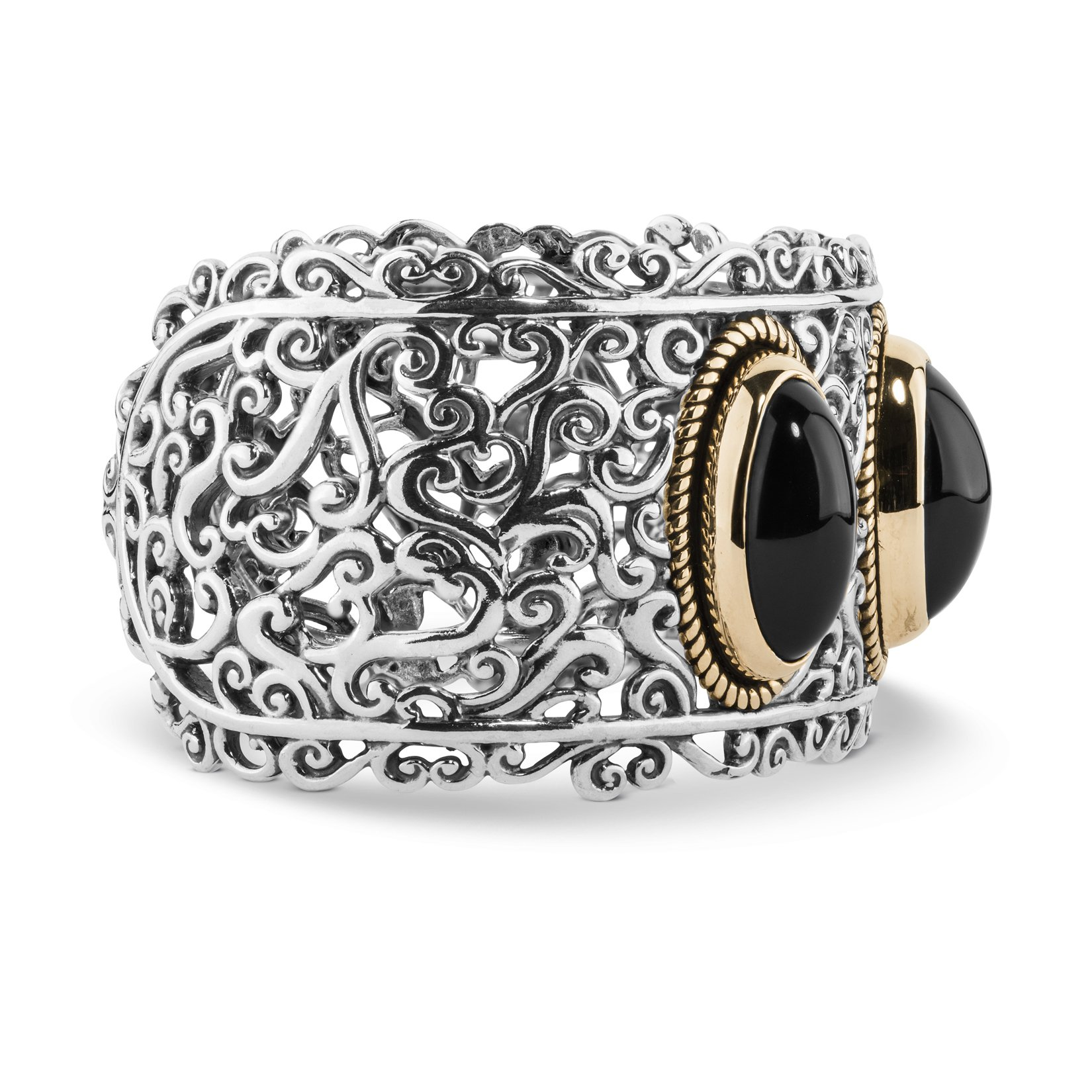 Carolyn Pollack Sterling, Brass, & Black Agate Bold Cuff Bracelet (Large) by Carolyn Pollack (Image #3)