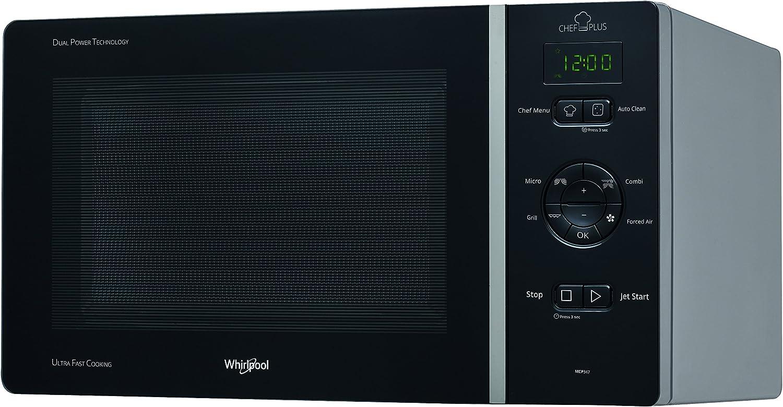 Whirlpool MCP 347 BL - Horno de microondas, 800 W, 25 litros, negro plateado