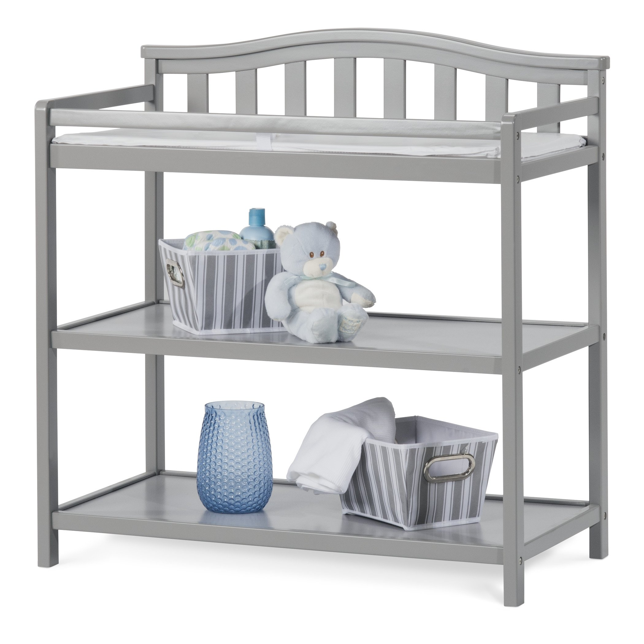 Child Craft Arched Top Changing Table with Pad, Cool Gray by Child Craft (Image #2)