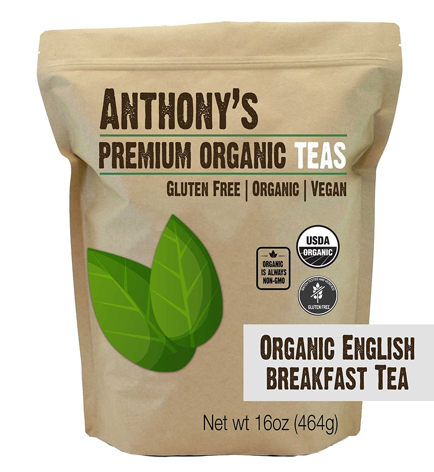 Anthony's Organic English Breakfast Loose Leaf Tea, 1 lb, Gluten Free, Non GMO, Non Irradiated, Keto Friendly