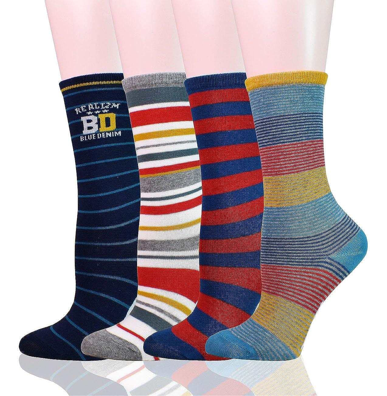 WEILAI SOCKS Child Toddler Kid Boy Colorful Casual Stripe Tube Crew Socks 4 Pack