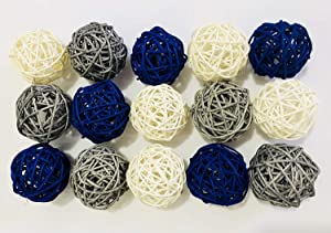 15-Pack Mixed Navy Blue Gray White Color Wicker Rattan Balls - Decorative Orbs Natural Spheres Craft DIY, Wedding Decoration, Christmas Tree, House Ornaments Vase Filler - 3 Colors Assorted, 2 inch/5cm