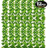 SunTop Plantas Artificial Decoración Hojas, Hiedra Artificial, 2.1