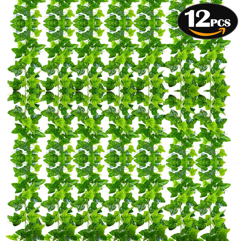 SunTop Plantas Artificial Decoración Hojas, Hiedra Artificial, 2.1 m -12 Pack Garland Plants