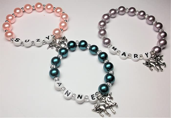 6b34146b7f2b Image Unavailable. Image not available for. Color  Personalized name  bracelet with an Unicorn charm girls ...