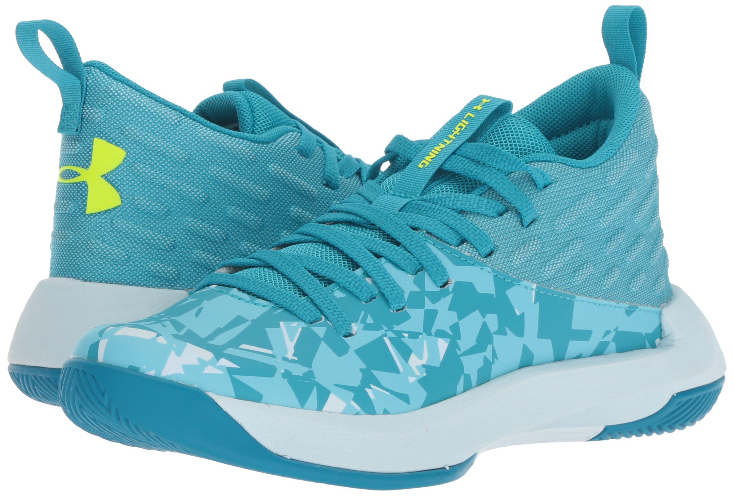 Under Armour Girls' Grade School Lightning 5 Basketball Shoe, Deceit (300)/Halogen Blue, 5.5 by Under Armour (Image #5)