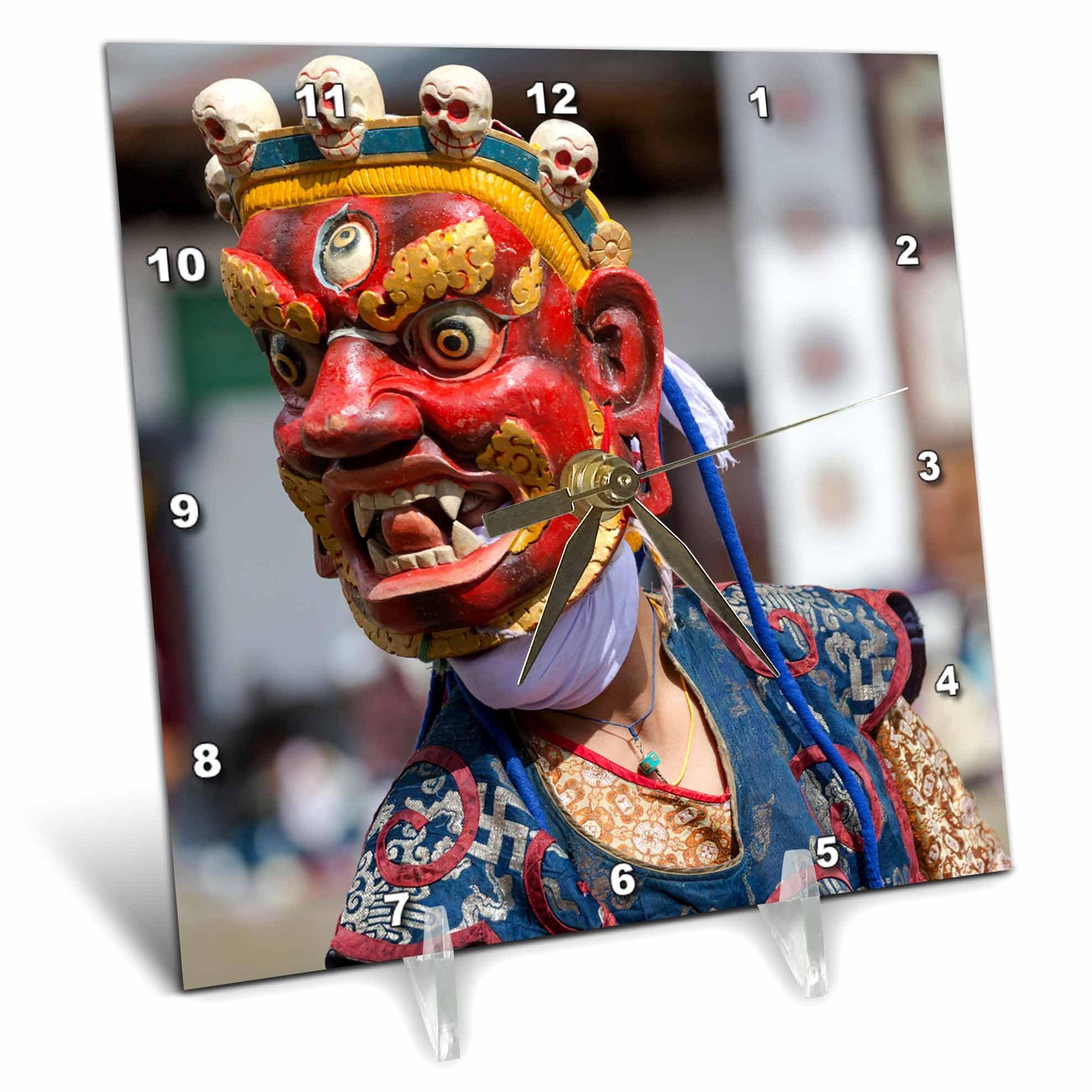 3dRose Danita Delimont - People - Asia, Bhutan, Gangtey Gonpa. Dance of the Furies. - 6x6 Desk Clock (dc_257041_1) by 3dRose (Image #1)
