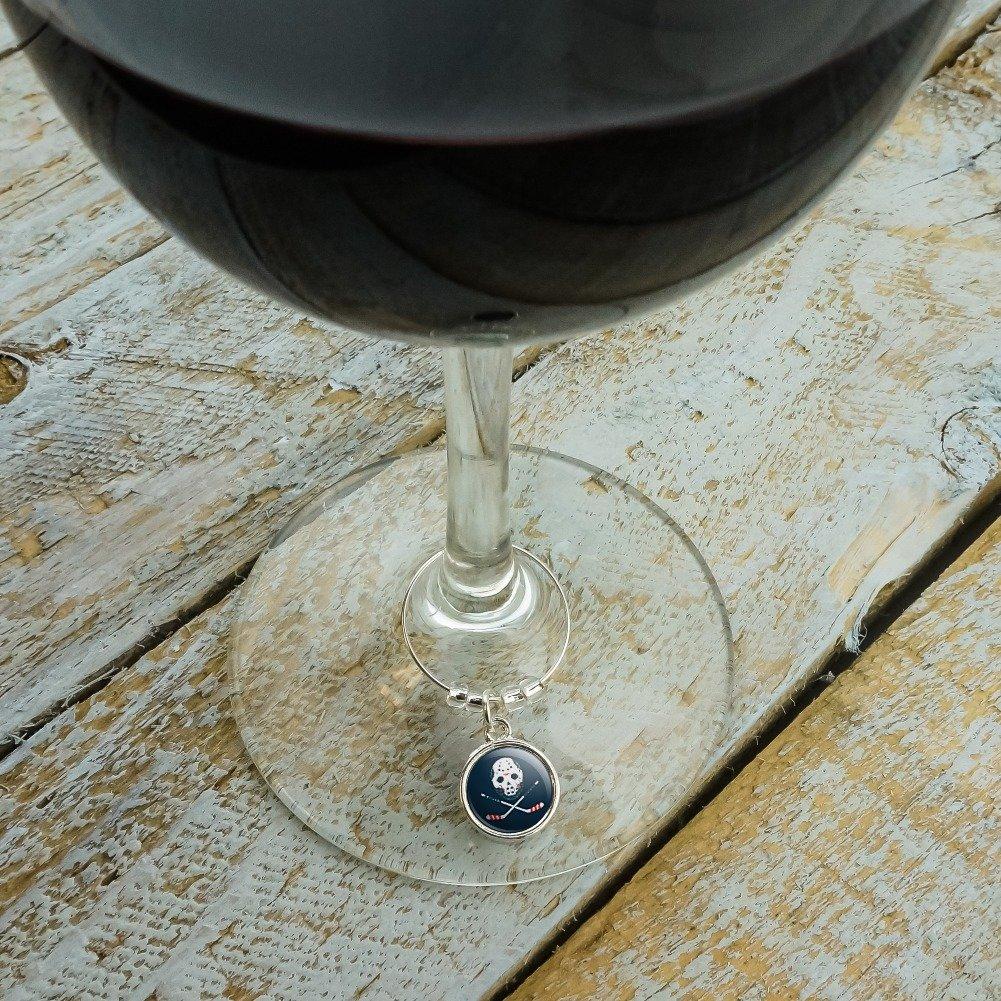 Hockey Mask Skull Crossbones Stick Wine Glass Charm Drink Marker