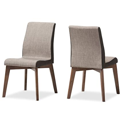 Baxton Studio Set Of 2, Emeline Mid Century Modern Beige And Brown Fabric  Dining