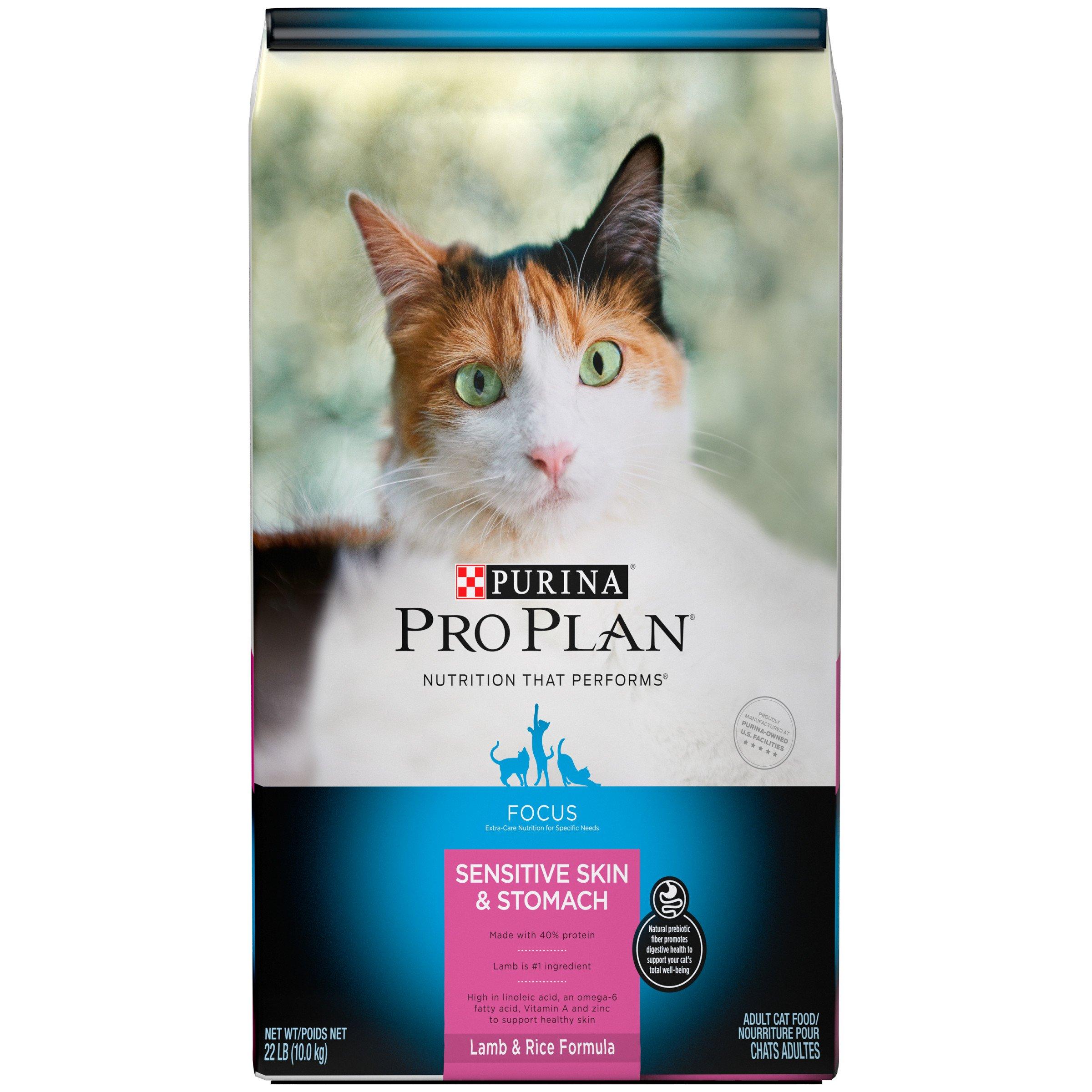 Purina Pro Plan Sensitive Stomach Dry Cat Food; Focus Sensitive Skin & Stomach Lamb & Rice Formula - 22 lb. Bag
