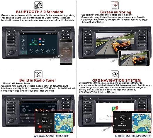 Android 8.1 Autoradio Dab+ Inclus pour BMW E39 X5 E53 7 /Écran Tactile GPS Navigation GPS GPS Sat Nav//IPS Panel//Multi-Touch//Bluetooth//WiFi//4G//Lecteur DVD//RDS//SWC//AUX