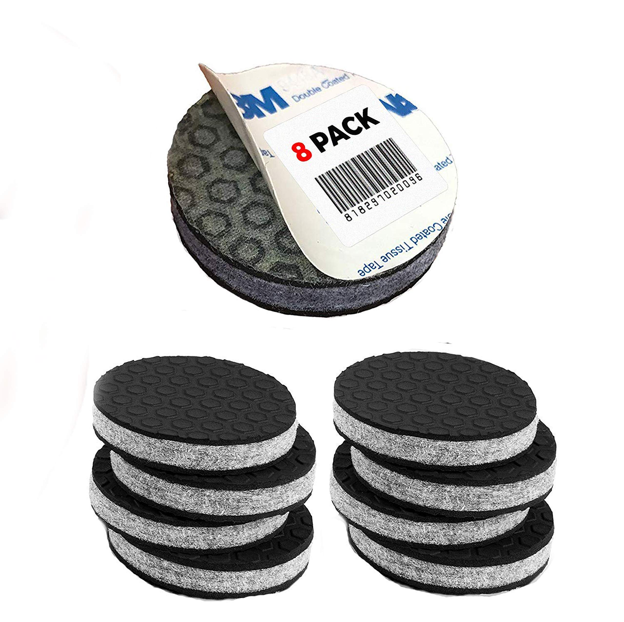 ''SlipToGrip'' Non Slip Furniture Pad Grippers - (8 Pack) Extra Large 3'' Round with Adhesive Side - Furniture Non-Slip Pads with 3/8'' Heavy Duty Felt Core. No Nails. Patent Pending.