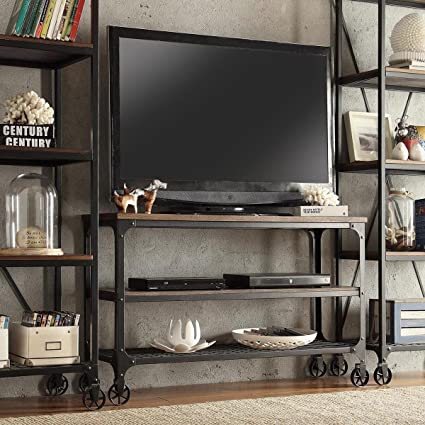 ModHaus Living Modern Industrial Rustic Riveted Black Metal U0026 Wood TV Stand  With Decorative Wheels  Rustic Industrial Tv Stand A9