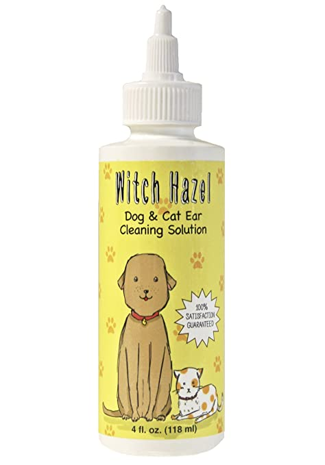 Immediate, Natural Relief with Witch Hazel Dog and Cat Ear Cleaner  Quickly  Heals Pet Ear Infections in 3-5 Days  4 oz  Easy, 1-Step Cleaning Solution