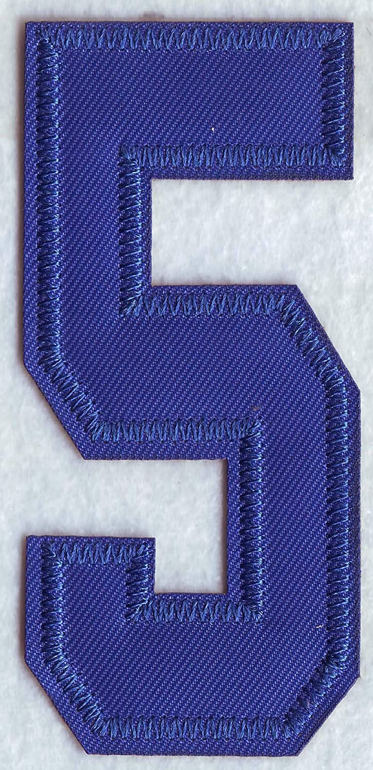 8 Royal Blue Number Patch #8 Iron On Jersey T-Shirt Jacket Jeans Embroidered