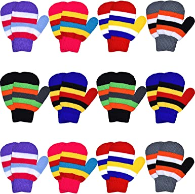 12 Pairs Toddler Stretch Full Finger Mittens Knitted Gloves Winter Warm Knitted Unisex Kid Gloves for Baby Boys and Girls Supplies