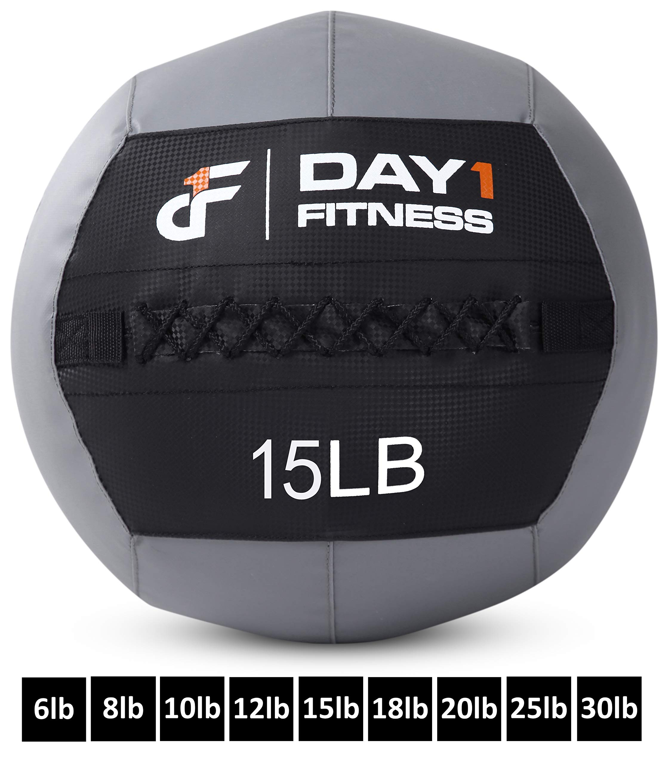 Day 1 Fitness Soft Wall Medicine Ball 15 Pounds - for Exercise, Physical Therapy, Rehab, Core Strength, Large Durable Balls for TRX, Floor Exercises, Stretching by Day 1 Fitness