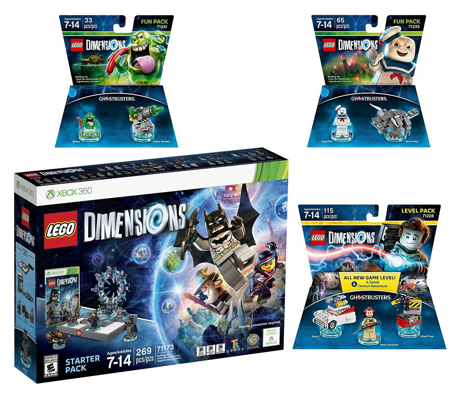 Lego Dimensions Ghostbusters Starter Pack + Peter Venkman Level Pack + Slimer + Stay Puft Fun Packs for Xbox 360 Console