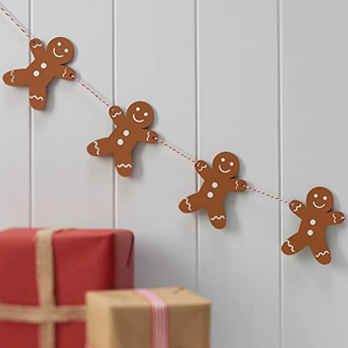 Ginger Ray Wooden Gingerbread Man Christmas Party Bunting Decoration - Vintage Noel