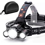 Headlamp,Cobiz Brightest High 6000 Lumen LED Work Headlight,18650 USB Rechargeable IPX4 Waterproof Flashlight with Zoomable L