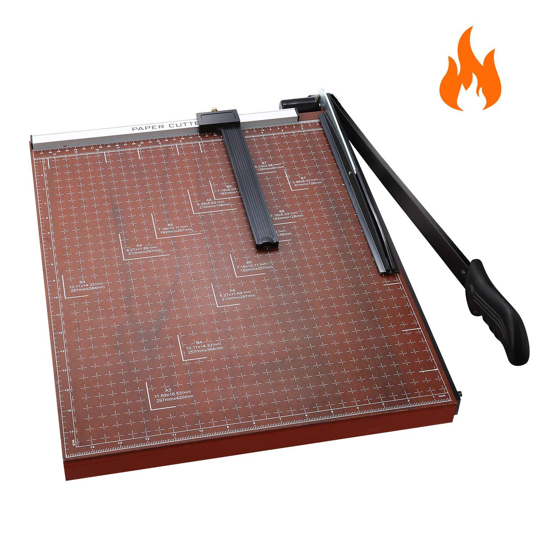 Paper Trimmer A3 Paper Cutter Heavy Duty Photo Guillotine Craft Machine 12 inch Cut Length/A3-Red/18.9'' x 15.0''