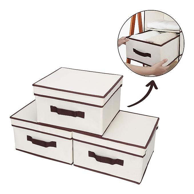 StorageWorks Storage Drawer Organizer with Lid, Foldable Basket Bin for Hanging Closet Organizer, Polyester Canvas, Natural, 3-Pack