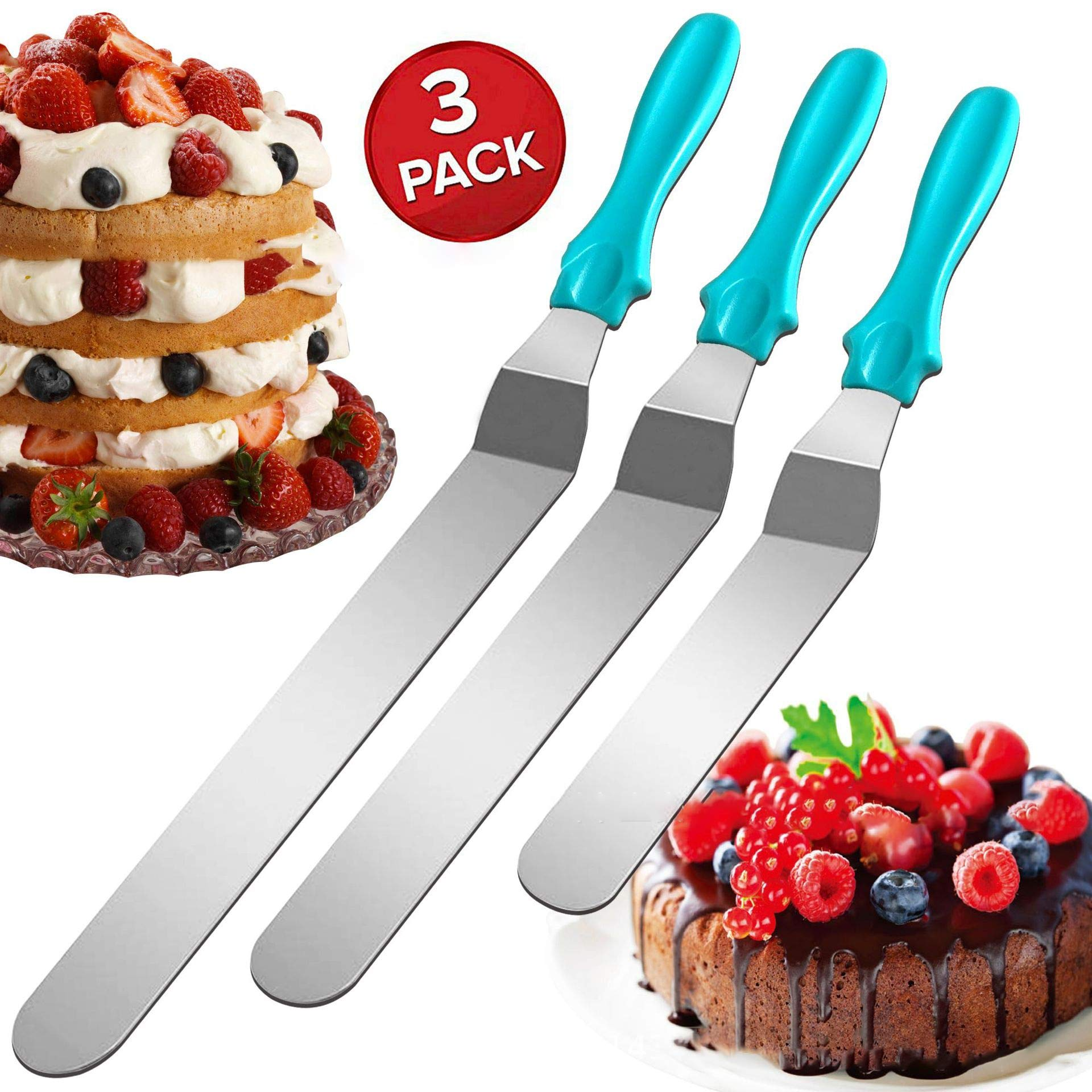 Stainless Steel Angled Icing Spatula with Polypropylene Handle, Icing Tool for Cakes Decorating, Set of 3 (8inch 10inch 11inch),Blue