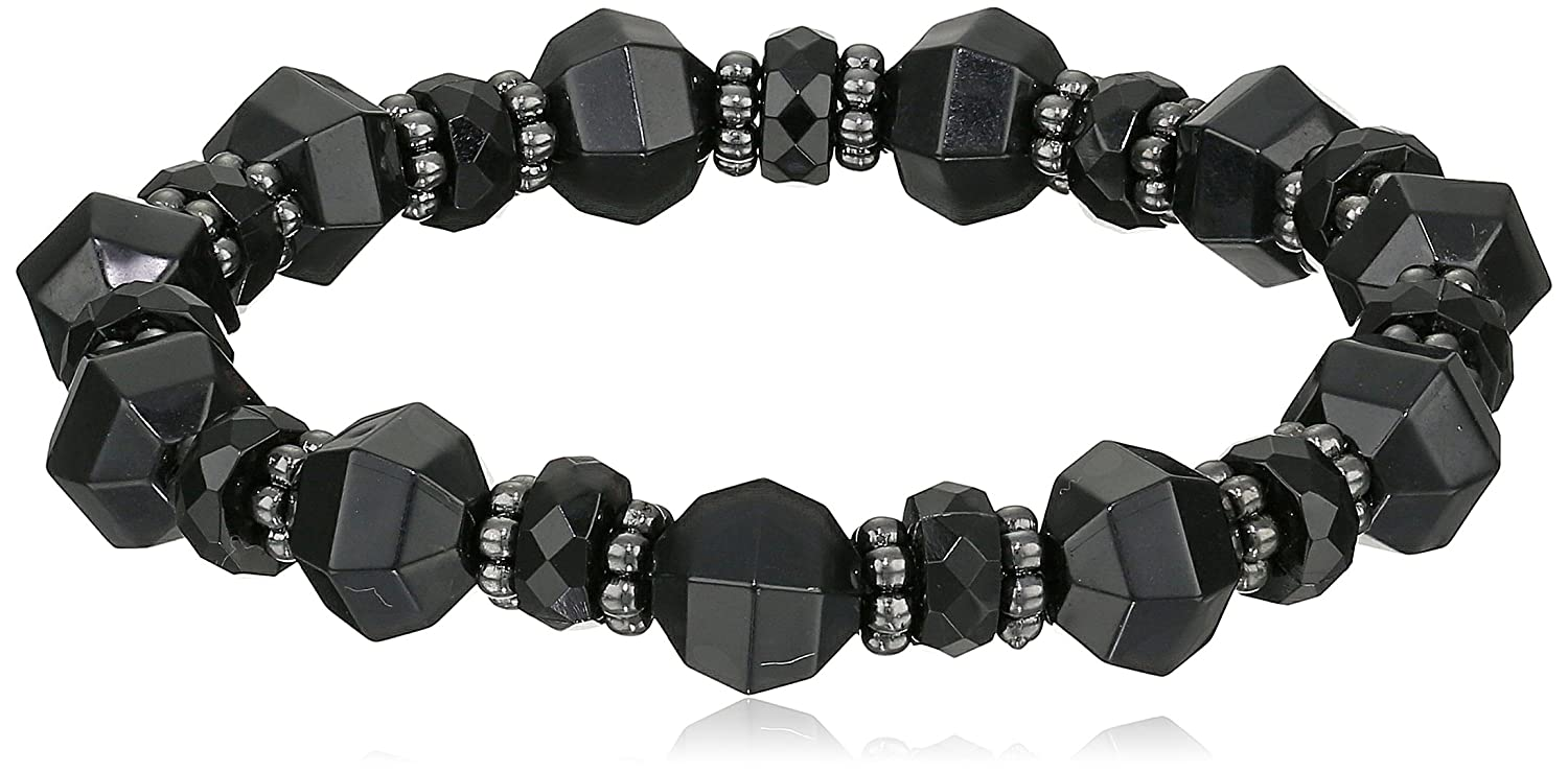 1928 Jewelry Jet and Silver Tone Faceted Bead Stretch Bracelet 62327