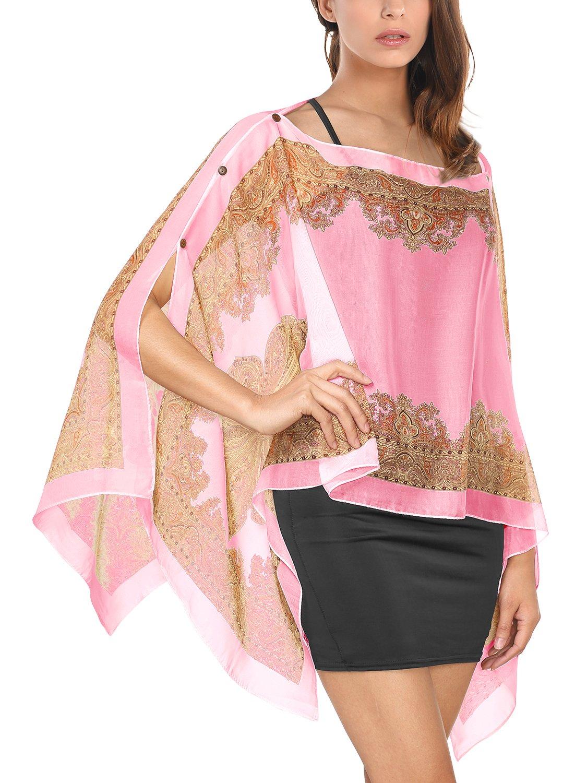 Floral Printed Chiffon Poncho, Ladies Loose Beachwear Bohemian Buttons Caftan Blouse T Shirt Tops L Pink