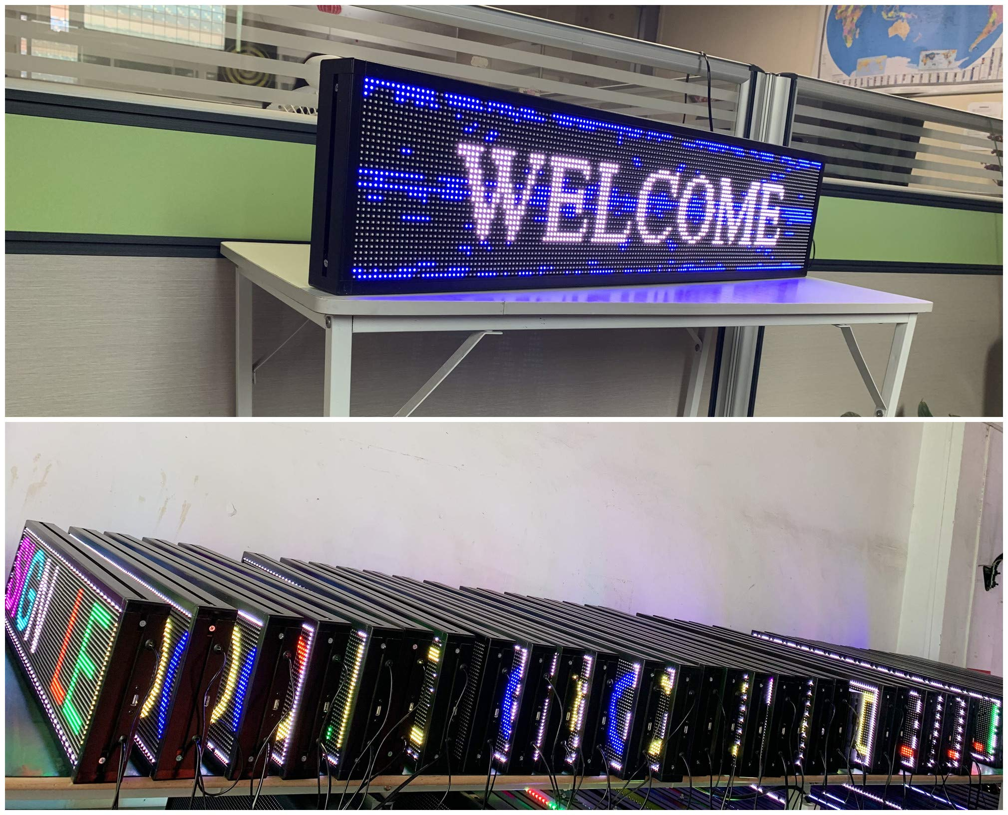 P6 7-Color Indoor led Sign and USB programmable Scrolling Texts & Time LED Display by CXGuangDian (Image #5)