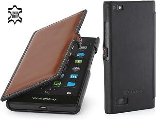 StilGut Book Type Case con Clip, Custodia in Vera Pelle per Blackberry Leap, Marrone/Nero - Nappa