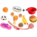Small Dog Toys Pack Of 10 + Bonus Travel Bowl | Puppy Chew Teething Toy Set | Squeaky Chewing Toys Package for Medium, Large Dogs and Pets | Durable, Tough, Non-Toxic, Rope, Rubber Toys By GloBal Pet