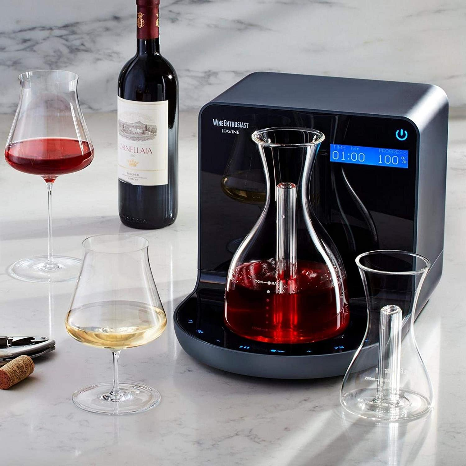 Wine Enthusiast iSommelier Smart Electric Wine Decanter with Bonus Single Glass Carafe - Reduces Decanting Time from Hours to Seconds