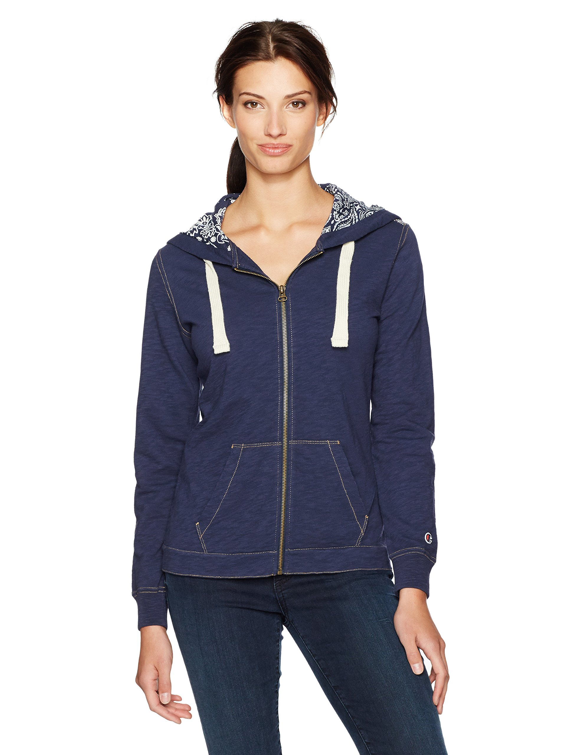Champion Women's French Terry Full Zip Hoodie (Edition), Navy, S by Champion
