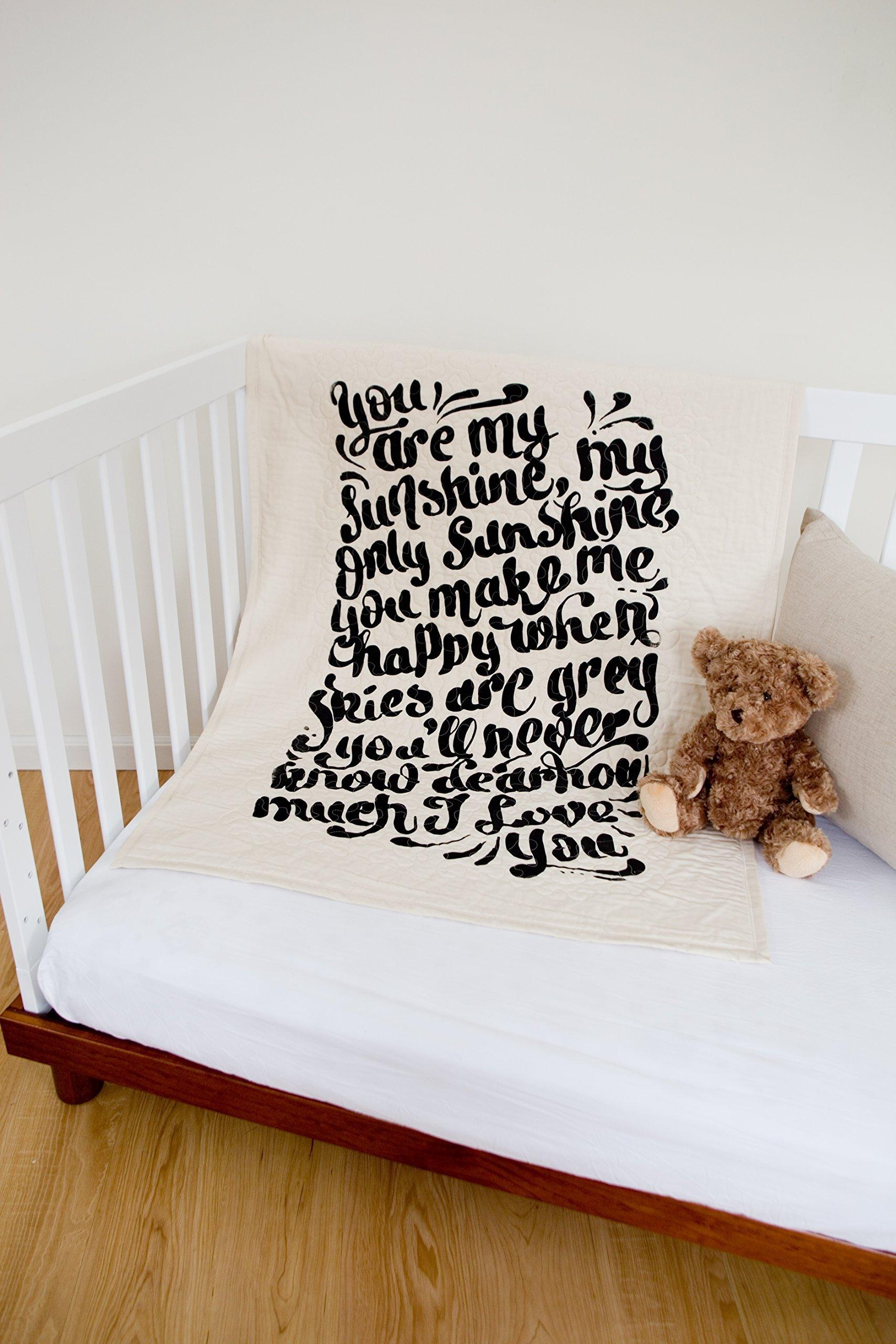 Sunshine Hand Lettered - Linen Crib Quilt - 36x45