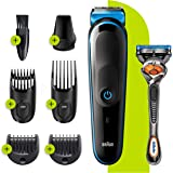 Braun 7-in-1 All-in-one Trimmer 3 MGK3245, Beard Trimmer, Hair Clipper & Face Trimmer, Black/Blue,