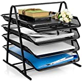 MeRaYo Metal Mesh 4 Trays Desktop Organizer/Rack Storage for Home and Office Accessories Files/Documents/Letters/Magazine/Newspaper Holder