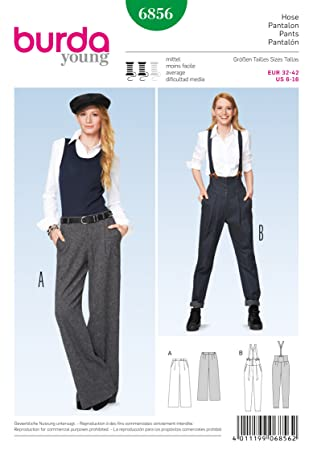 Burda Young Sewing Pattern 6856 - Misses\' Pants, Loose-Fitting Size ...