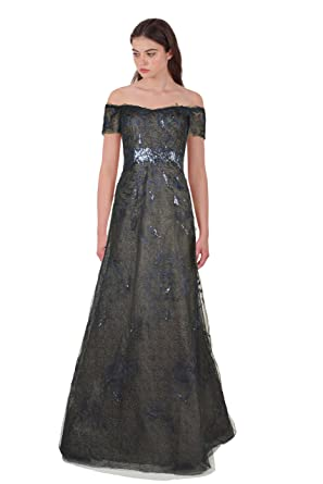 Amazon.com: Rene Ruiz Sequin Embellished Tulle Off Shoulder Evening ...