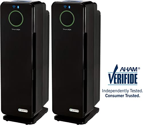 Germ Guardian CDAP450 2-Pack WiFi Bluetooth Smart Voice Control Air Purifier, True Filters Allergies, Pollen, Smoke, Dust, Pet Dander, UV-C Eliminates Germs, Mold, Odors, Quiet 22 inch 4-in-1