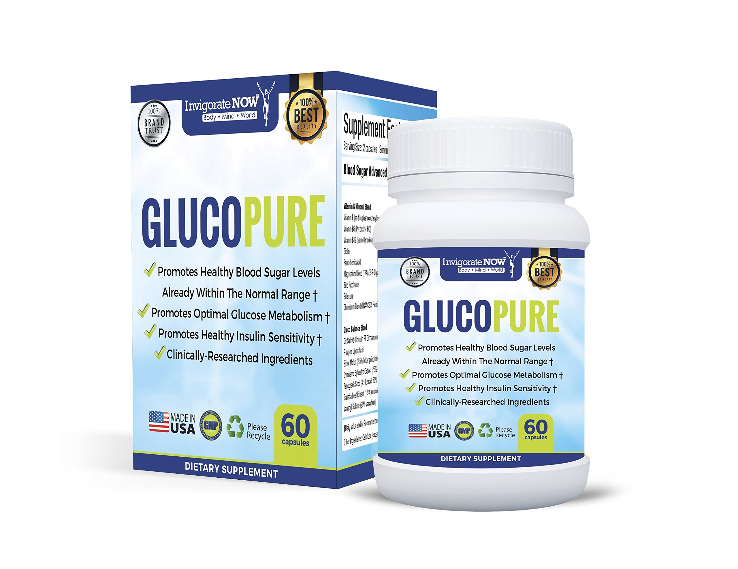 GlucoPure Blood Sugar Control Supplement by InvigorateNOW - Support For Blood Sugar, Cholesterol and Cravings, Promotes Healthy Blood Glucose Levels and Appetite (60 Capsules) - 1 Bottle