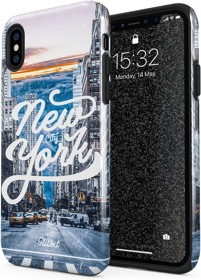 Amazon.com: Glitbit Compatible with iPhone Xs Max Case New York City Apple  USA Times Square America Travel Wanderlust Brooklyn Manhattan Shockproof  Dual Layer Hard Shell + Silicone Protective Cover