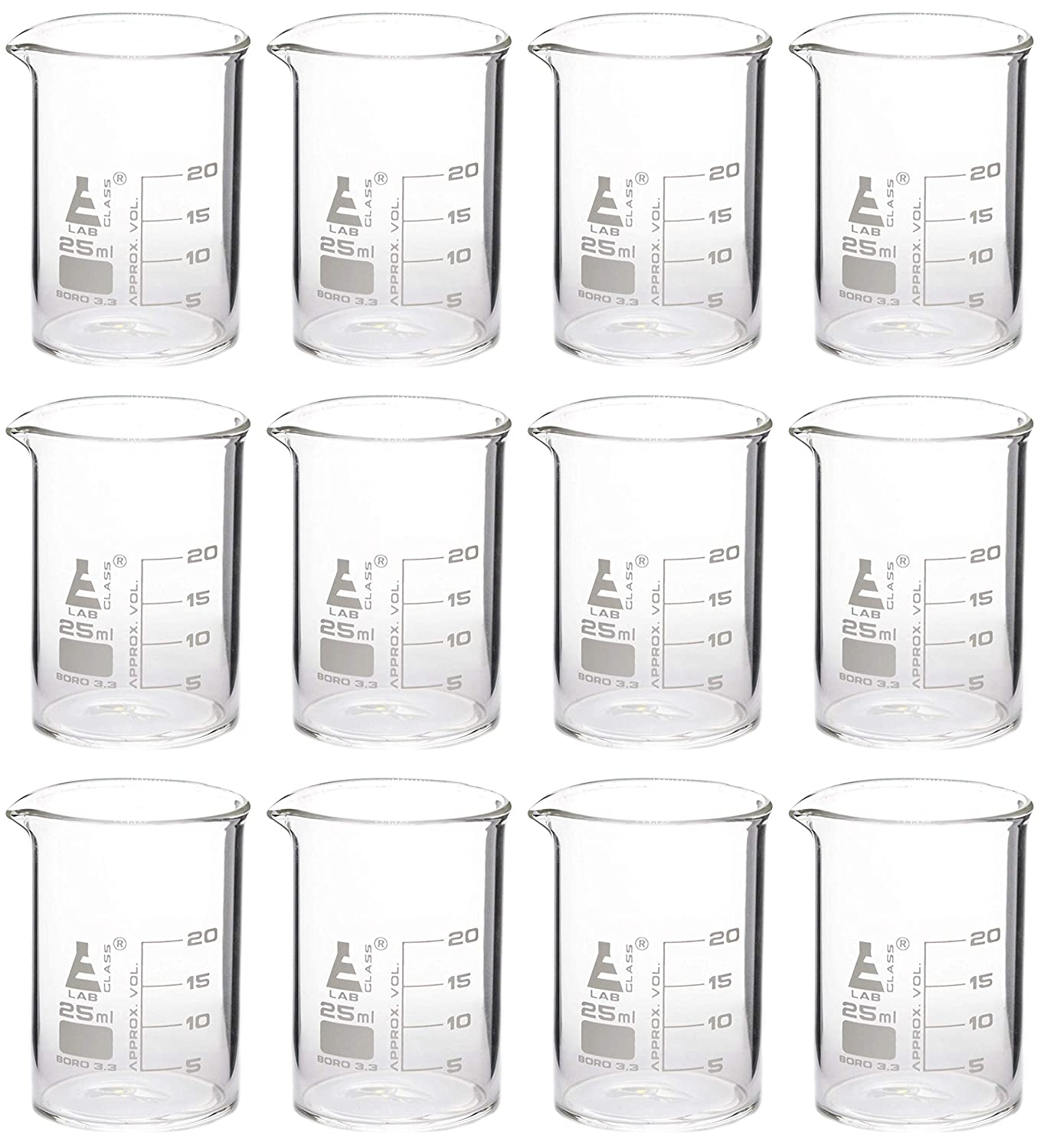 Eisco Labs Beaker - 25mL, Borosilicate Glass, 5mL graduation Low form - Pack of 12