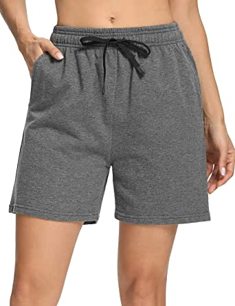 "Safort Women's 10"" 5"" Active Bermuda Shorts 100% Cotton 3 Pockets Pajama Lounge Essential Long Shorts Causual"