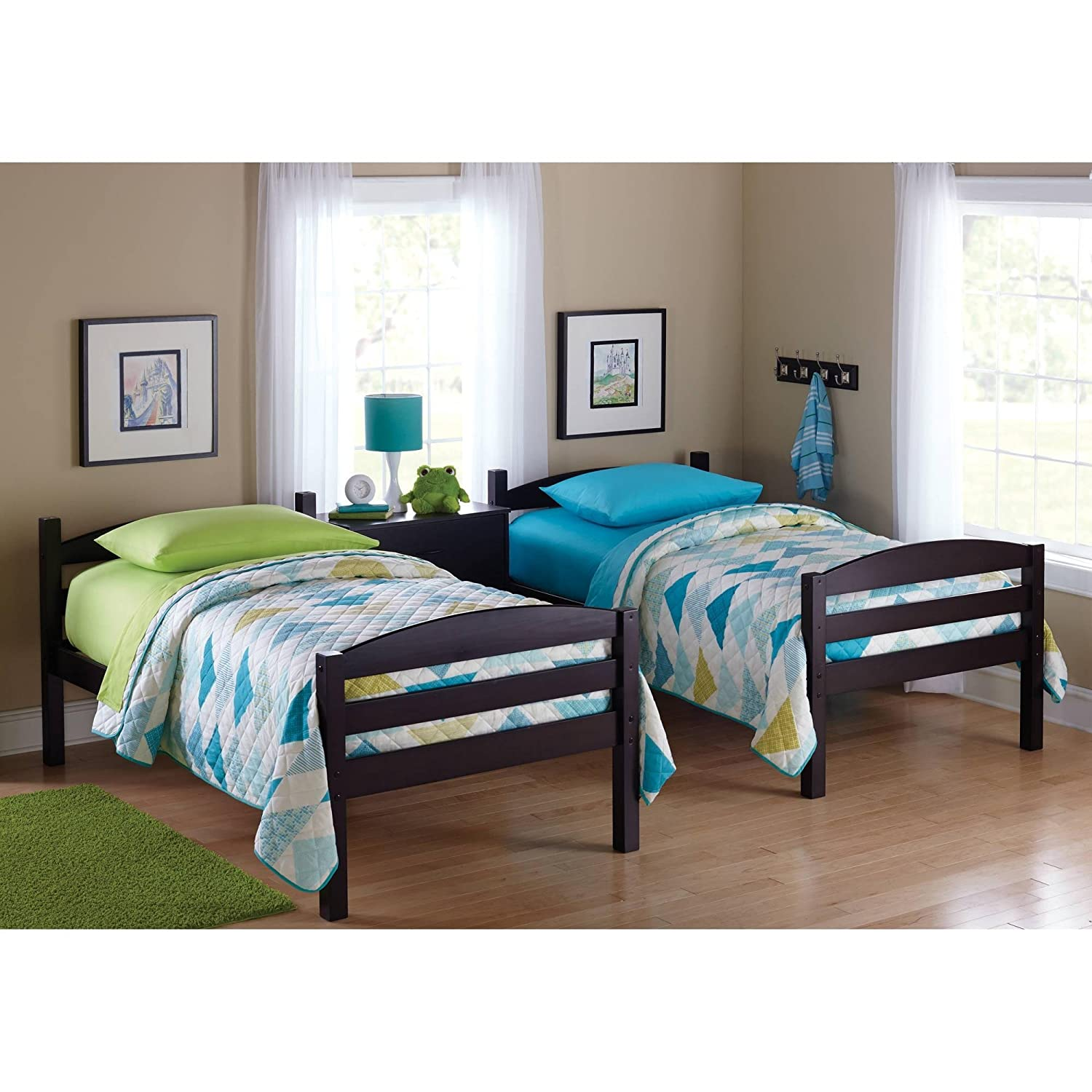 easy to convert to twin bed practical space saver wood bunk bed multiple finishes with sturdy frames espresso