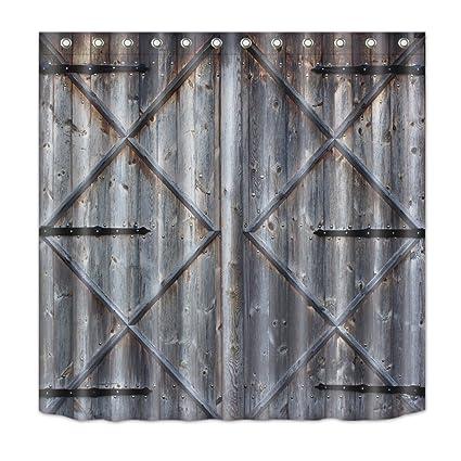 LB Western Texas Barn Door Decor Shower Curtain For Bathroom Vintage Rustic Country Themed