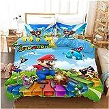 Supermario Bros Kids Soft Bedding Sheets Set Super Mario 3 Piece Twin Size (A, 135x200cm (2 pcs))